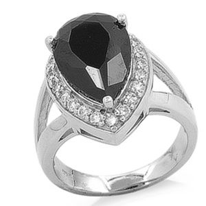 Black Teardrop CZ 925 Silver Fashion Cocktail Ring